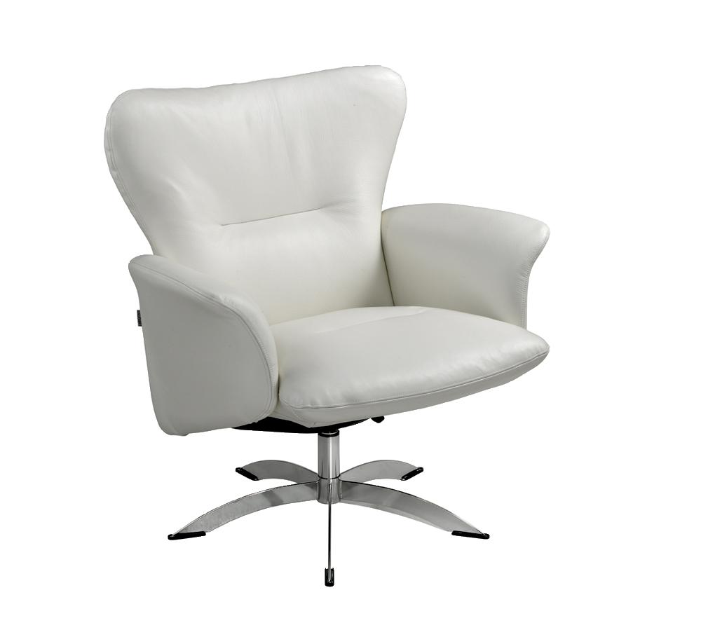 Hvid lænestol i læder